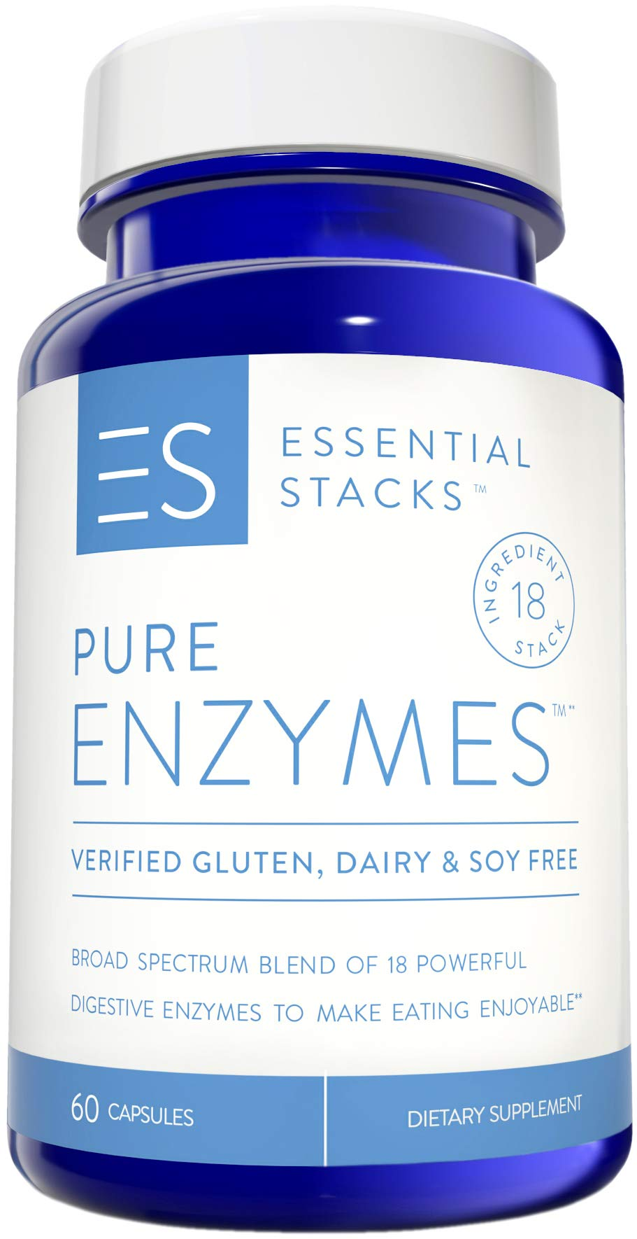 Essential Stacks Pure Enzymes - Gluten Free, Dairy Free & Soy Free with 3rd Party Verified Allergen Testing – Smart Blend of 18 Powerful Digestive Enzymes So You Can Digest All Food Groups