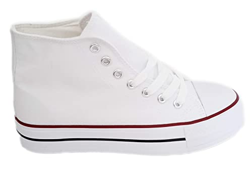 Zapatillas Blancas Altas Plataforma Mujer Deportivas Canvas de Lona Sin Marca Ni Logotipos con Suela Doble, Blanco: Amazon.es: Zapatos y complementos
