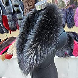Gegefur Large Long Detachable Natural raccoon Fur Collar for Winter (100cm, black)