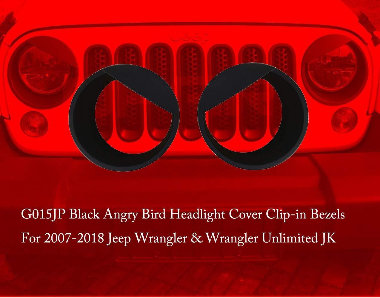 G015JP Black Angry Bird Headlight Cover Clip-in Bezels for 2007-2018 Jeep Wrangler /& Wrangler Unlimited JK GOHAWKTEQ