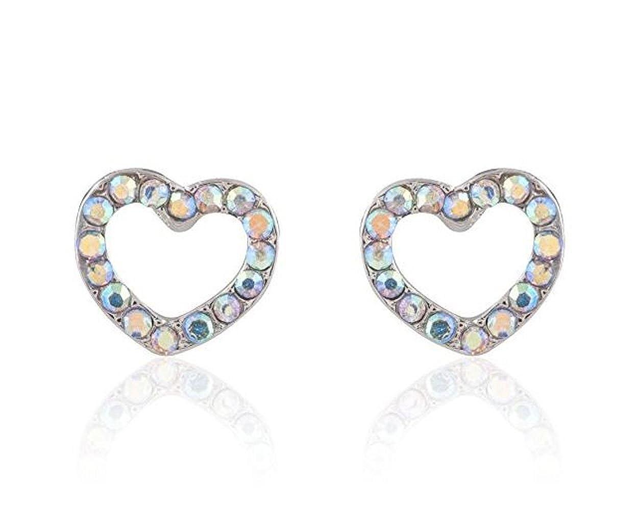 Surgical Stainless Steel Studs Earrings Little Girl Women Heart Shape Cubic Zirconia Hypoallergenic Earrings