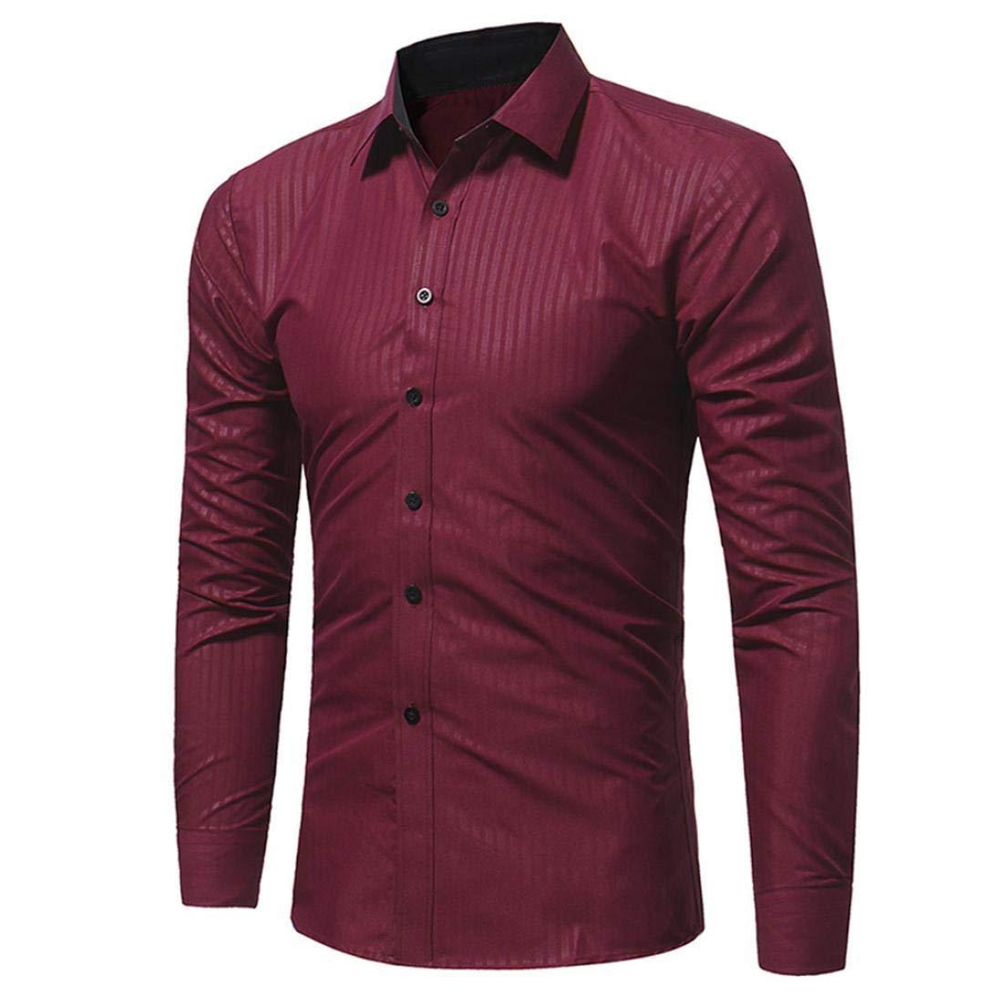 BaZhaHei-Camisetas de hombre Moda Blusa de Hombre Camisas de Hombre Camisa de Manga Larga Casual Masculina de Rayas de Colores sólidos, Rayas Finas de Manga ...