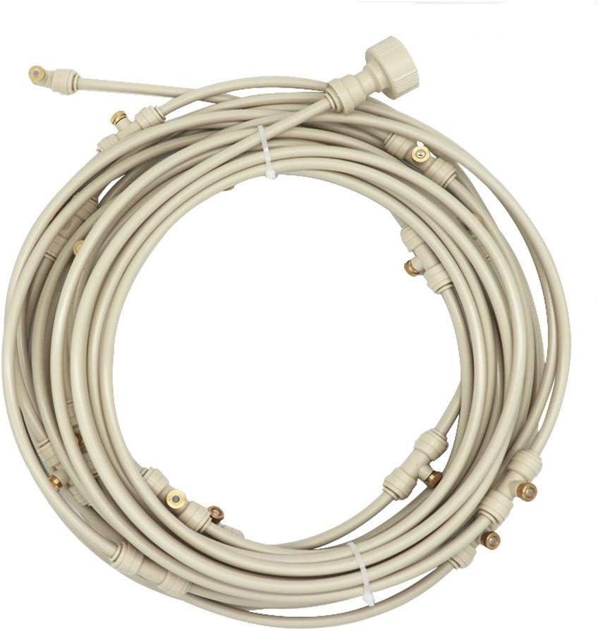 JYSLI Drips Misting Kits 6-18M Mist Nozzles System 1/4'' 10/24UNC Water Sprayer Cooling Kits White Hose Nozzles Set Se Nozzles Set 20FT-60FT resist (Color : White 15m) White 15m