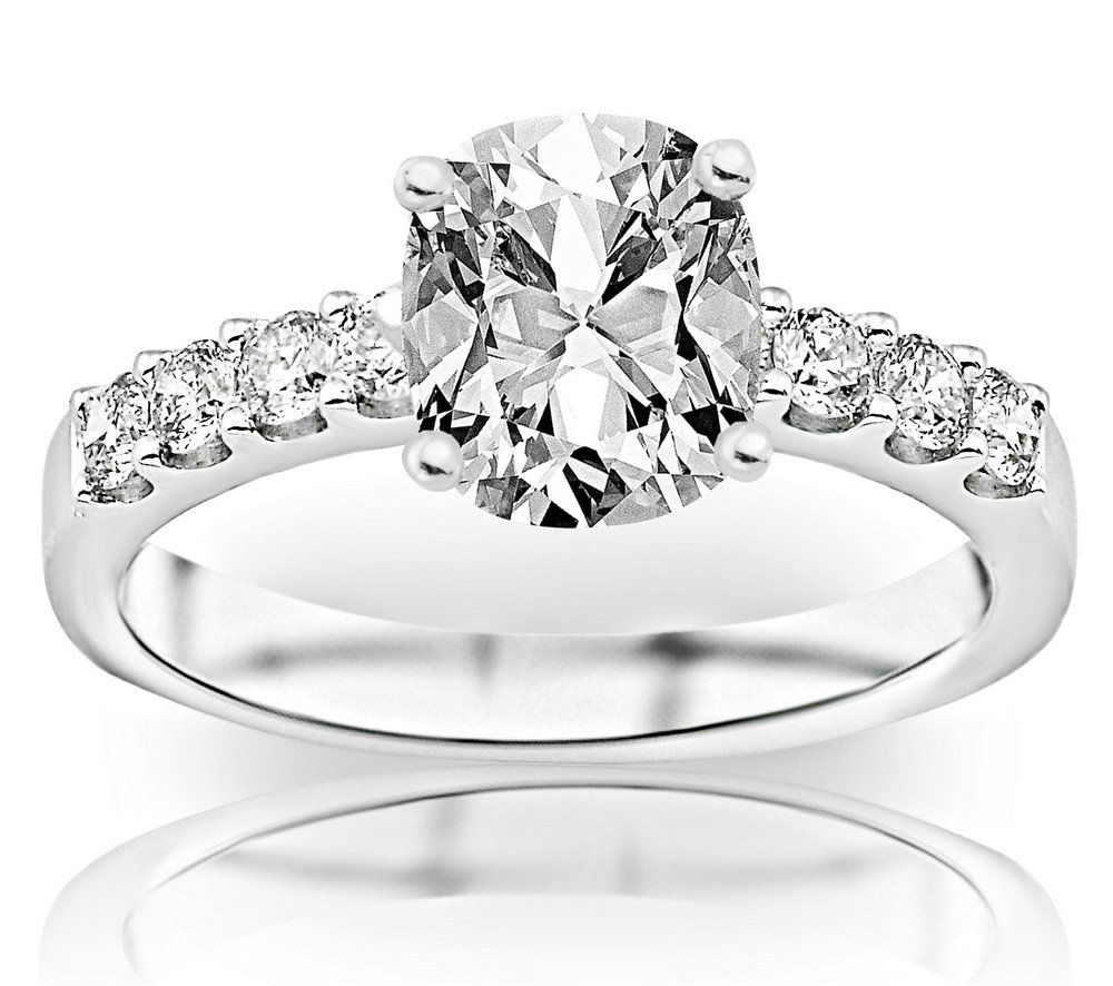 2 Carat GIA Certified Cushion-Cut Classic Prong Set Diamond Engagement Ring with a 1 Ct G-H VS1-VS2 Center by Houston Diamond District