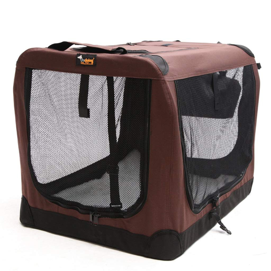 Brown 424260cm Brown 424260cm Playpens & Pens Dog Tent Car Transport Portable Kennel Collapsible Pet Delivery Room Medium And Large Dog Pet Tent Outdoor Pet Game Fence Indoor Cat Nest (color   Brown, Size   42  42  60cm)