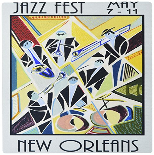 Price comparison product image 3dRose LLC 8 X 8 X 0.25 Inches Mouse Pad Image of Art Deco New Orleans Jazz Poster (Mp_181075_1)