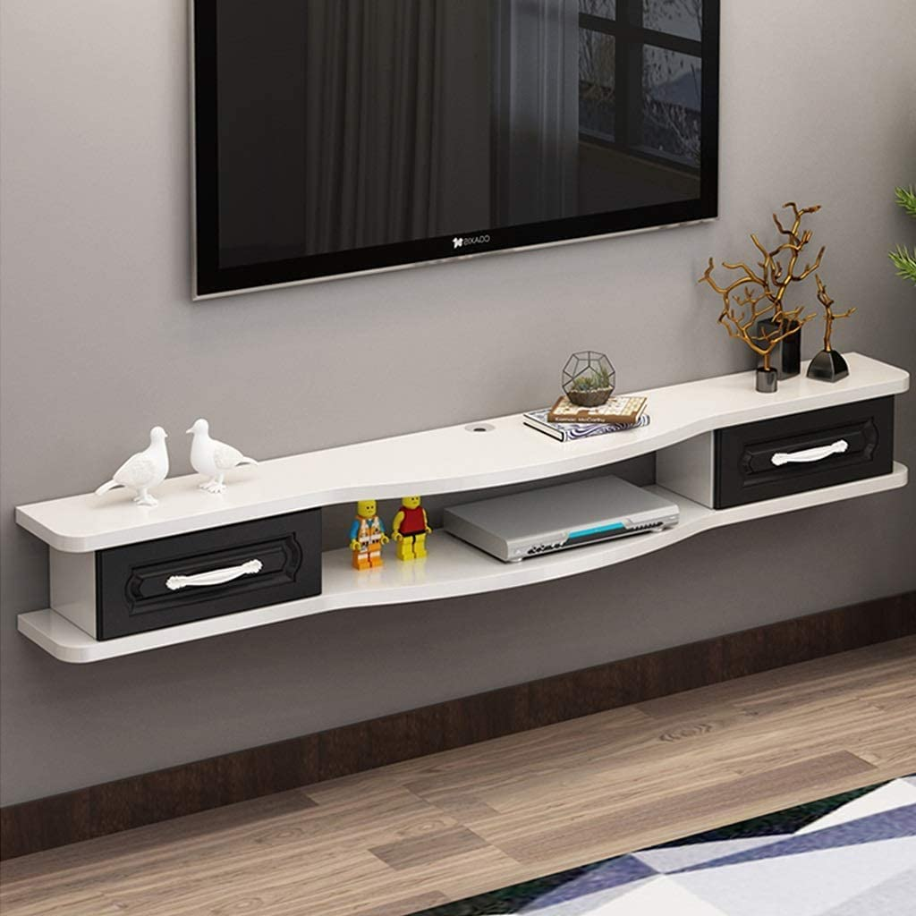 Floating Tv Shelf Wall Mounted Tv Stand Living Room Wall Tv Storage Console Media Console Floating Tv Cabniet Hanging Wall Shelf Tv Console For Cable Boxes Routers Remotes Dvd Players Game Consoles Amazon Co Uk Kitchen Home