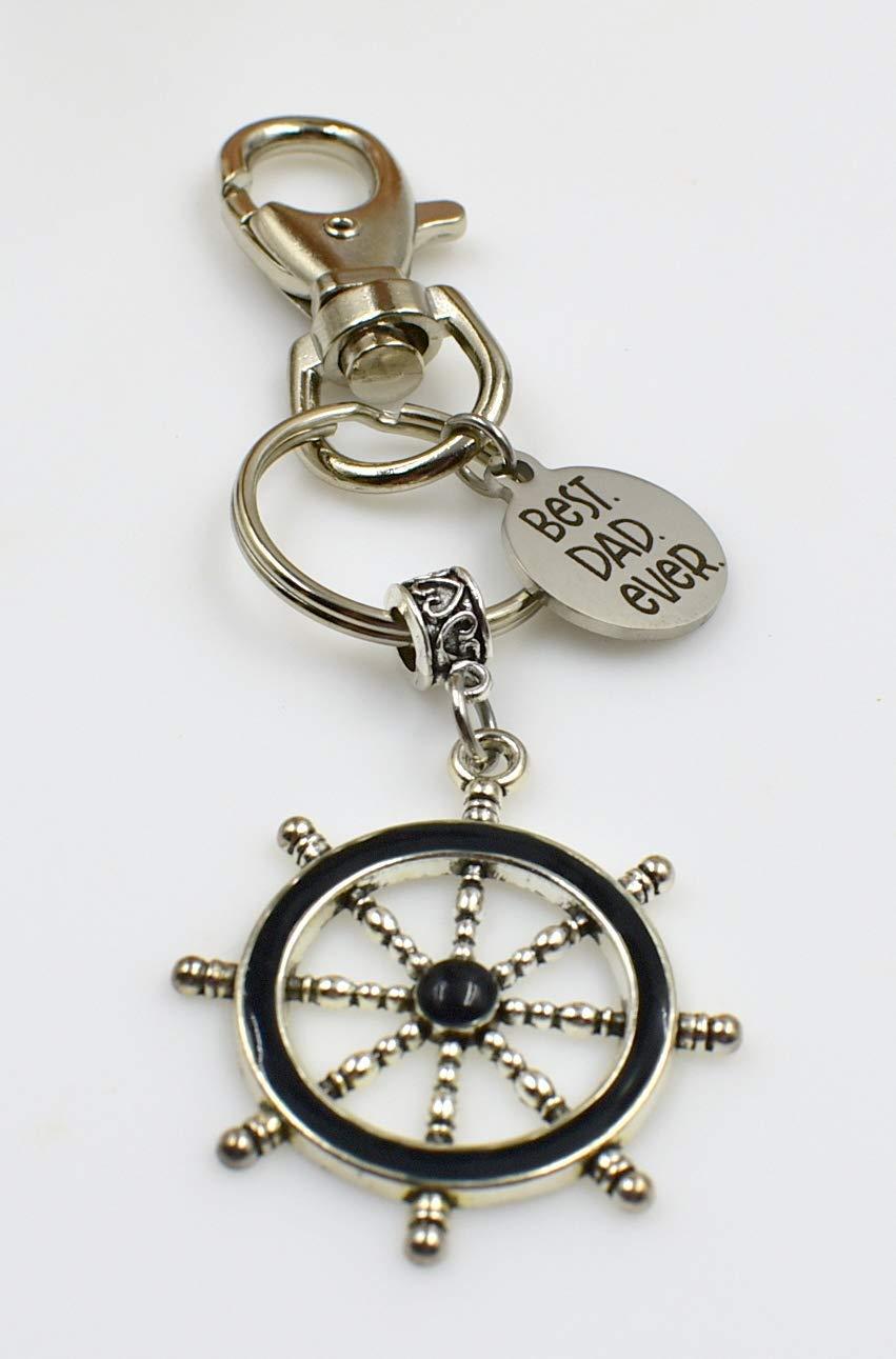 Best Dad Ever Ship Wheel Black Enamel Nautical Men in Motion Father Pop Keychain Silvertone Key Chain