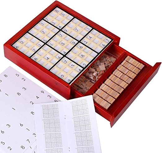 Zxllyntop Rompecabezas Juego de Mesa con cajón de Madera Sudoku Juego de Mesa de Madera Sudoku Juego de Mesa lógica Pensamiento Nueve-Gold Square Sudoku Game (Color : Rojo, tamaño : B): Amazon.es: