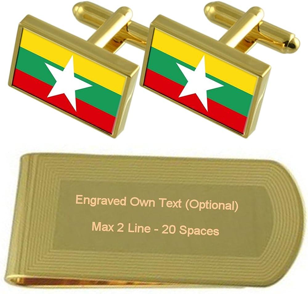 Leather Keyring Engraved Myanmar Flag