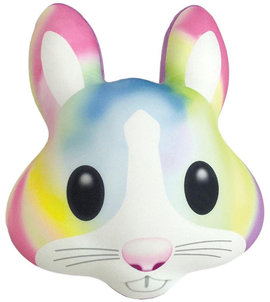 iscream X-Pressive! Emoji Watercolor Bunny 19'' x 15.5'' Fleece-Backed Microbead Pillow
