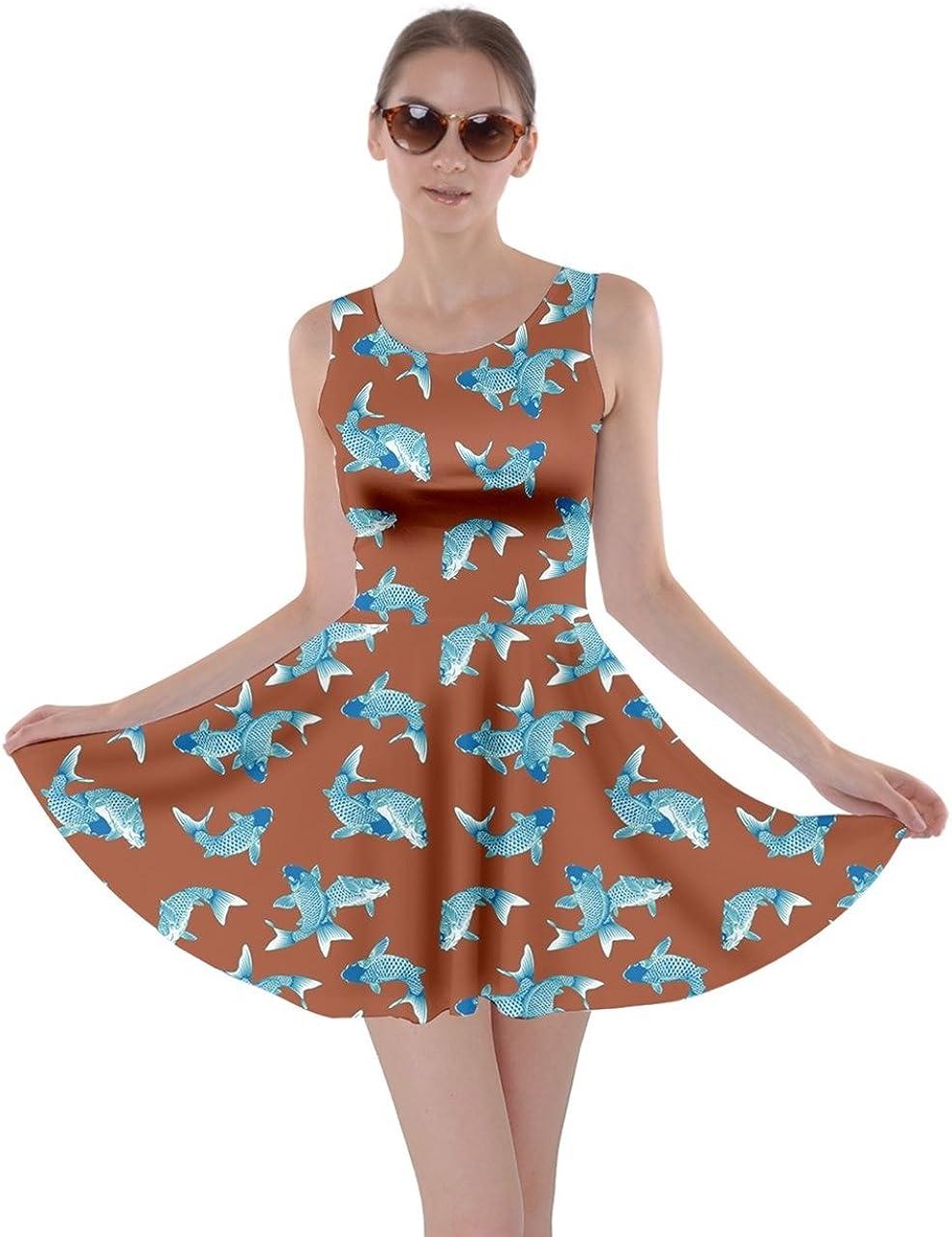 CowCow Womens Japan Style Japanese Sushi Goldfish Fan Dragon Fuji Pattern Skater Dress, XS-5XL