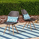 Great Deal Furniture Amaya Outdoor Multibrown Wicker Dining Chairs with Brown Wood Finish Metal Legs (Set of 2)