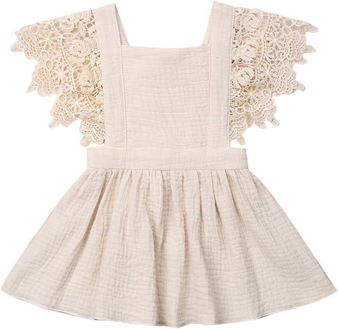 Amazon.com: Vestido de princesa de encaje de algodón y lino ...