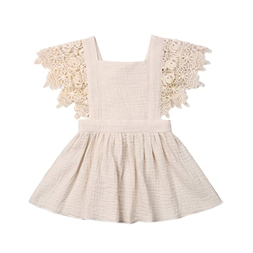 0ea3496c8f7b Toddler Baby Girl Infant Comfy Cotton Linen Lace Princess Overall Dress  Sundress (Beige, 0