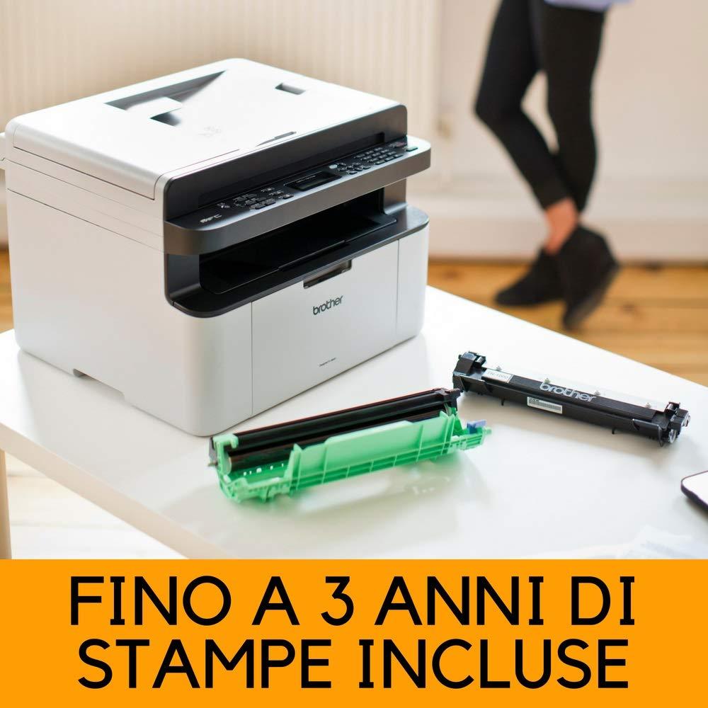 Brother MFC-1910W Stampante Multifunzione Laser, Fronte, Monocromatica, Compatta, Fax, USB e Wi-Fi [Italia] MFC1910WM1