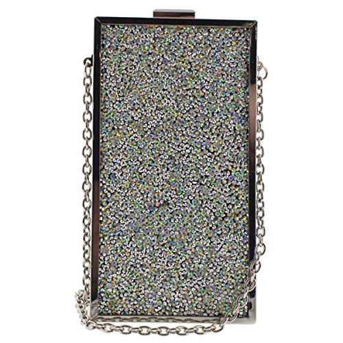- INC Womens Faux Leather Framed Clutch Handbag Silver Small