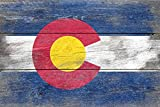 Rustic Colorado State Flag (24x36 Giclee Gallery Print, Wall Decor Travel Poster)