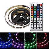 fosa USB LED Lighting Strip for HDTV, 3.3FT 60 LEDs Multi-Color RGB Backlight Strip with Multi Function RF Remote Controller Suitable For Desktop Computer Mid Tower Case Waterproof Led Strip Lights