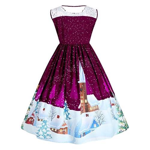 Hiroo Donne di moda Abito da Cerimonia di Natale Pizzo stampato Pin Up Swing Lace Partito Dimensioni...