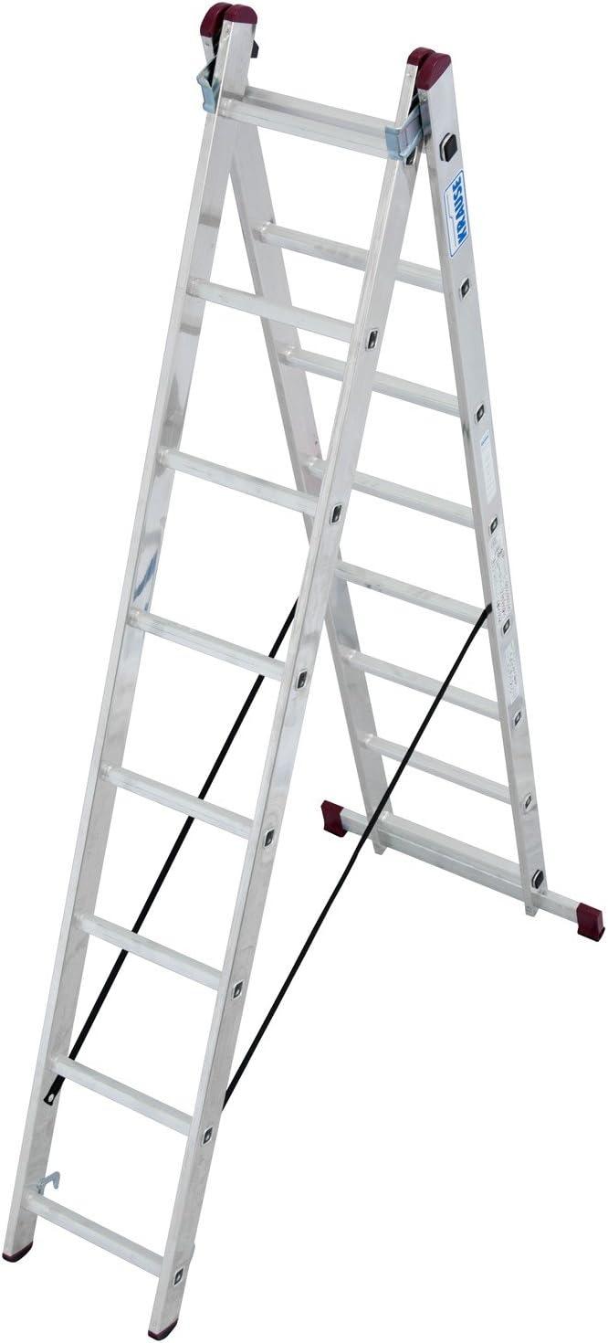 Krause – corda Escalera multiusos de aluminio 2 x 8 o 2 x 11 peldaños DIN EN 131 – 1 Travesaños, número: 2 x 8 peldaños: Amazon.es: Bricolaje y herramientas
