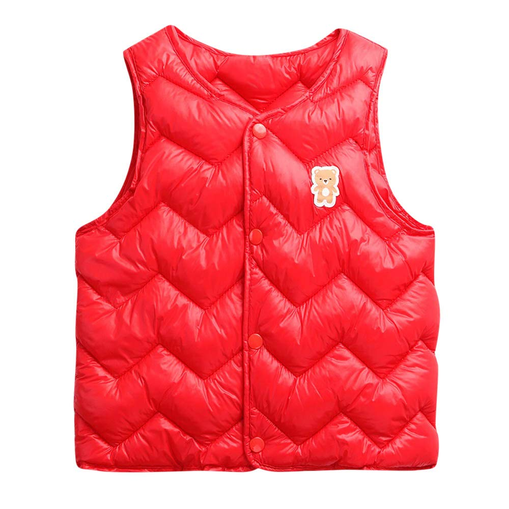 FEITONG Toddler Baby Girls Boys Sleeveless Cartoon Solid Winter Warm Thick Vest Waistcoat Outwear