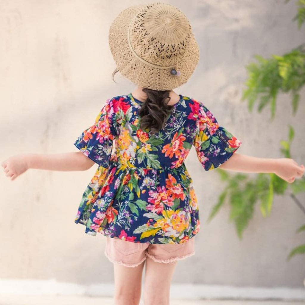 Fabal Toddler Kids Baby Girls Fly Sleeve Floral Tops Solid Short Hair Band Outfits Set