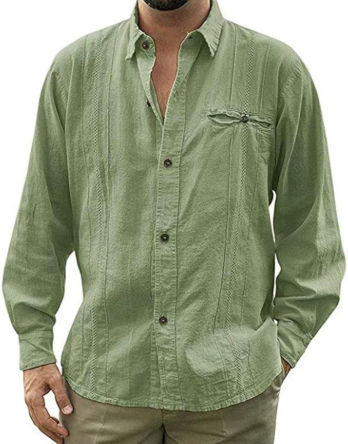 Kiasebu Camisas de Lino Estilo Cubano para Hombre, Estilo Guayabera, holgadas, con Botones - Verde - XX-Large: Amazon.es: Ropa y accesorios