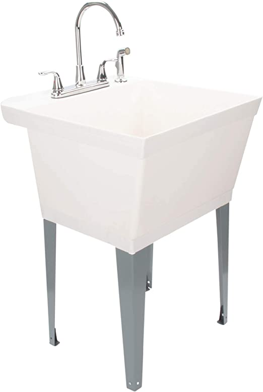 Amazon Com Utility Sink Laundry Tub With Chrome Finish High Rise Faucet By Maya With Side Sprayer Large Basin And Metal Legs Great For Workroom Shop Garage Basement Mud Room White Tub Home