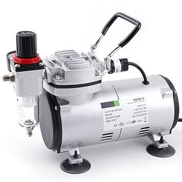 Compresor de aerógrafo Original Fengda FD-18-2 / regulador de presión / 4 bar / parada automática: Amazon.es: Bricolaje y herramientas