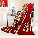 YOYI-HOME Luxury Collection Ultra Soft Plush Fleece Year Window Paper Cut Warm Microfiber All Season All-Season Throw/Bed Blanket/79 W by 47'' H