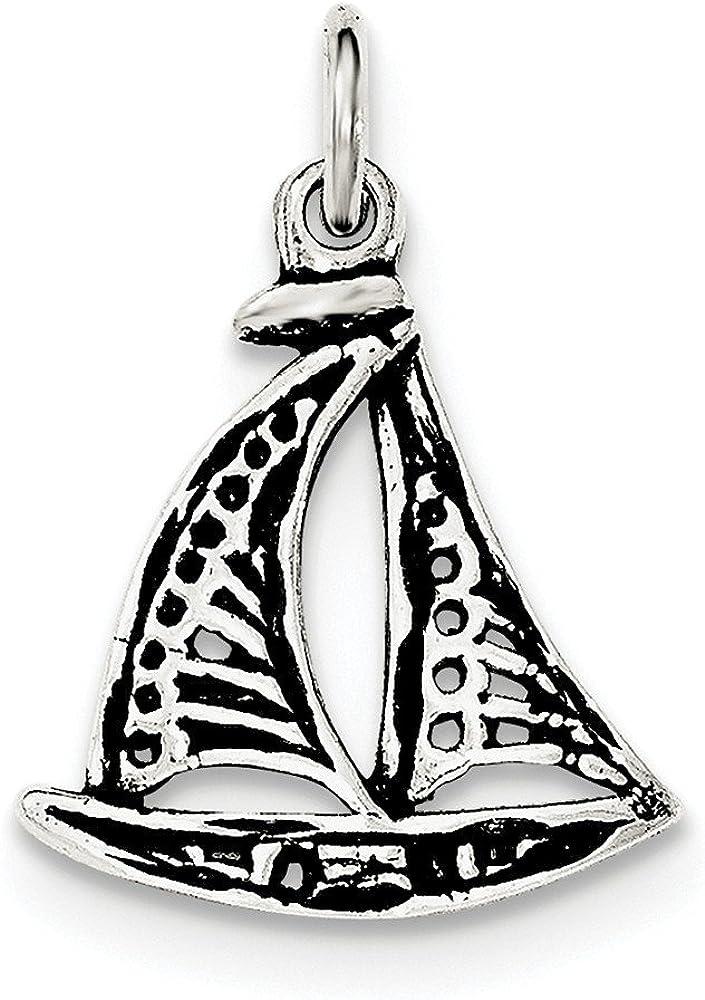 Solid 925 Sterling Silver Vintage Antiqued Sail Boat Pendant Charm