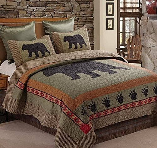 Rustic Black Bear (3pc FULL/QUEEN Size Rustic Lodge Country Cabin Bear Paw Quilt Set (90