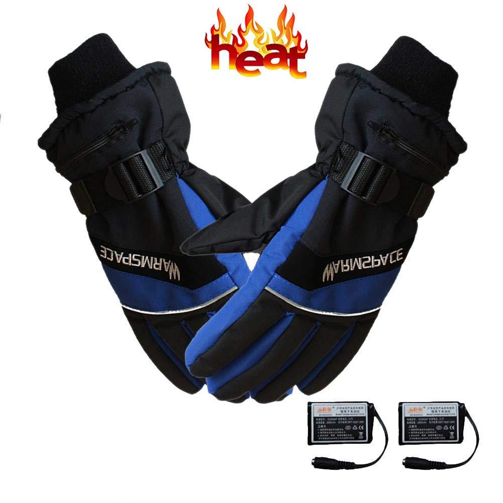 Beheizbare Handschuhe, wasserabweichend atmungsaktive, Winterhandschuhe mit wiederaufladbare Lithium-Ionen-Batterie Beheizt für Herren, warme Handschuhe für Das Radfahren, Motorrad, Wandern Skitouren