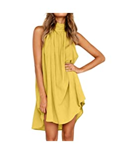 ❤️ Vestido de fiesta sin mangas, playa del verano de las señoras del vestido irregular de las mujeres ABsolute (S, Amarillo)