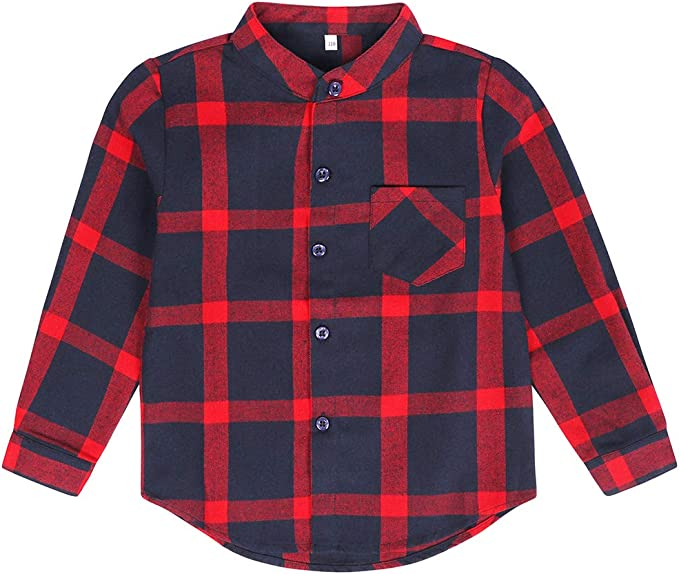 Edjude Camisa a Cuadros de Manga Larga para Bebé Niños Niñas con Botón Casual Formal Camisetas Algodón Cepillado Chaqueta 3-12 años