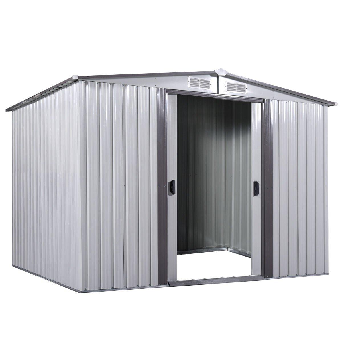 8' x 8' Outdoor Grey Steel Garden Storage Utility Tool Shed Backyard Lawn Building Garage w/Sliding Door