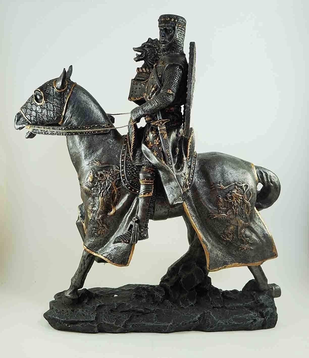 Medieval Fantasy Calvary Knight on Battle Horse Ready for Jousting Pewter Gray