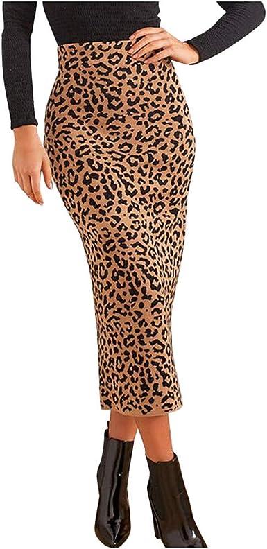 beautyjourney Falda lápiz de Leopardo Sexy para Mujer Faldas ...