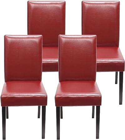 Mendler Lot de 4 chaises de séjour Littau, Simili Cuir, Rouge, Pieds foncés