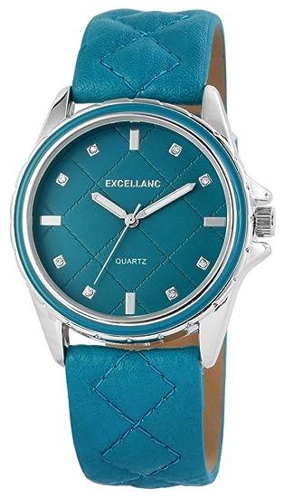 Reloj mujer turquesa plata brillantes piel mujer reloj de pulsera: Amazon.es: Relojes