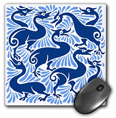 3dRose Russ Billington Designs - Fantastic Ducks and Splashes Victorian Tile Design - Mousepad (mp_220844_1)