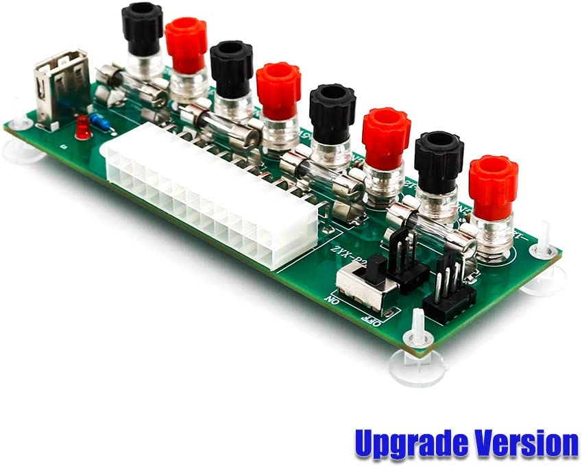 Upgrade Version 20//24 Pins ATX Benchtop PC Power Breakout Adapter with USB 5V Port