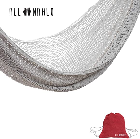 ALL NAHLO Cotton Single Hammock Free Drawstring Portable Carry Bag Lightweight Hammocks Swing Person Tree Stand Camping Rope Outdoor Tent net Straps Bed Fabric Quilted Patio Kids Mosquito Camp Pillow
