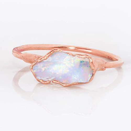 78f303605 Amazon.com: Raw Opal Ring, Size 8, Rose Gold, October Birthstone ...