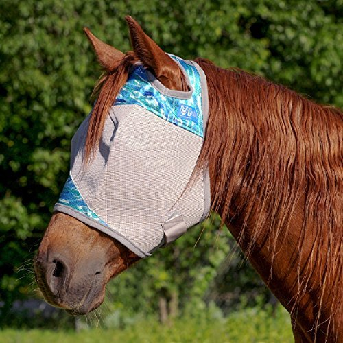 Cashel Designer Fly Mask, Standard without ears and nose, Style: Blue Watercolor Size: Arab/Cob/Small Quarter Horse- Limited Edition for 2017 by Cashel (Image #1)