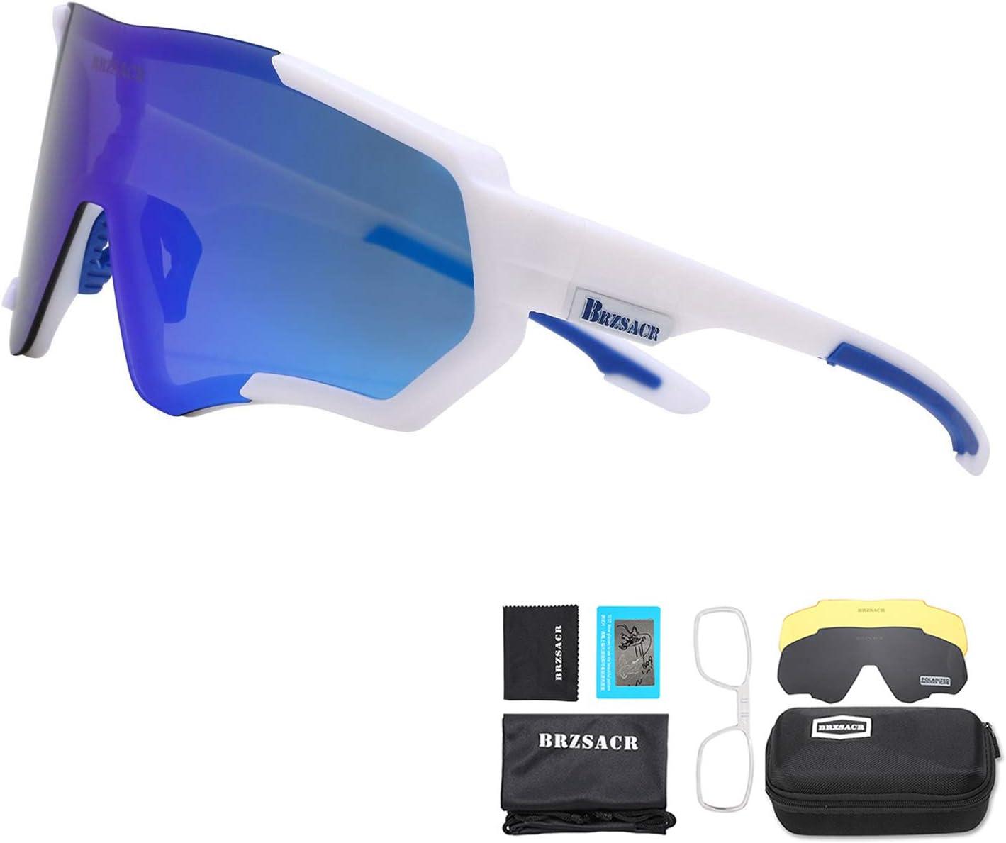 BRZSACR Gafas de Sol Deportivas polarizadas Protección UV400 Gafas de Ciclismo con 3 Lentes Intercambiables para Ciclismo, béisbol, Pesca, esquí, Funcionamiento