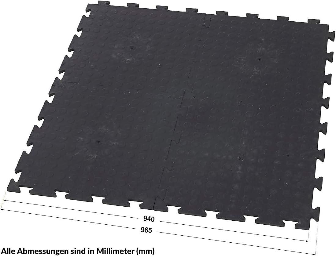 HxBxT 12 x 470 x 470 mm Certeo Vinyl Bodenfliesen Schwarz Genoppt Klickfliesen Vinylfliesen