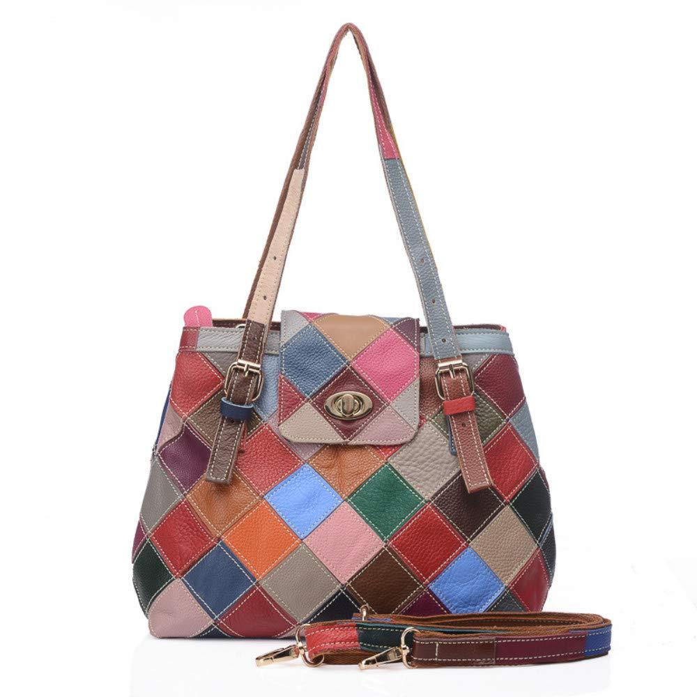 Damenhandtasche Umhängetasche Leder Handtaschen Modetrend Gebrochen Hautfarbe Nähte Persönlichkeit Tasche Schulter Diagonal Lederhandtasche Bunte Nähte
