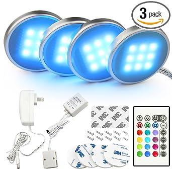 BASON RGB LED Under Cabinet Lighting Closet Puck Lights Color Changing For  Kitchen Shelf Decoration,